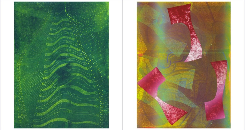 "[Left] - ""GAMMA"" - Aquatint with Monotype - 2015   [Right] - ""PSI"" - Aquatint with Monotype and hand-cut Stencils - 2015"