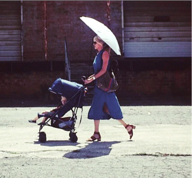 MUMbasador Actress Sara Wright Olsen,  pushing her little guy Wyatt in the Hot Atlanta sun!