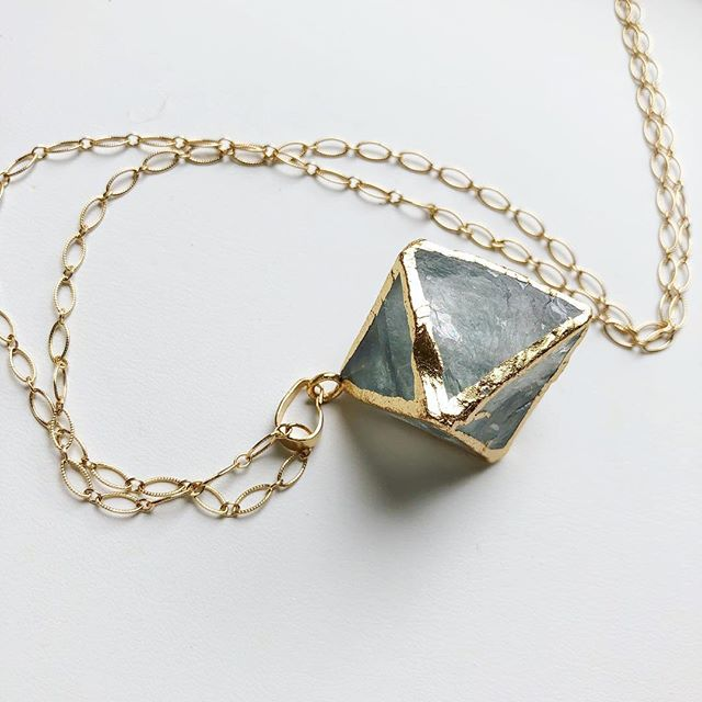 """Love this light green stone with the gold! Chain is 14k gold filled. 38"""" long with a 1.5"""" drop. $30. To buy, post """"sold"""". $3 flat shipping fee added to all orders."""