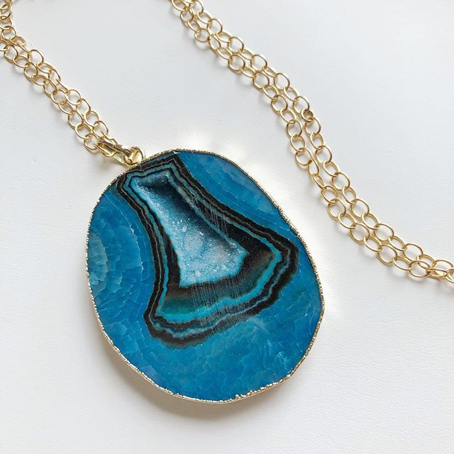 """Beautiful blue agate on 14k gold filled chain. It is 37"""" long with a 3.5"""" drop. $30. To buy, post """"sold"""". $3 flat shipping fee added to all orders."""