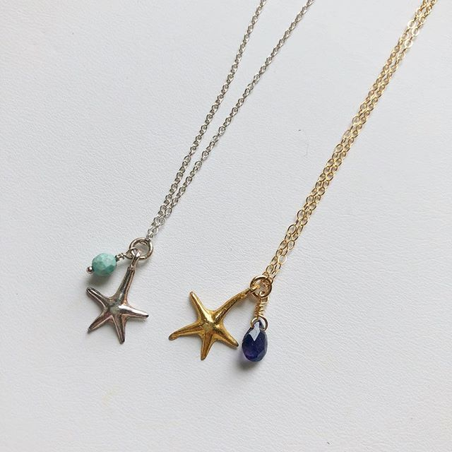 "Starfish necklaces! Sterling silver and 14k gold filled. Both are 16"" long. $22 each. To buy, post ""sold"" and specify silver or gold. $3 flat shipping fee added to all orders."