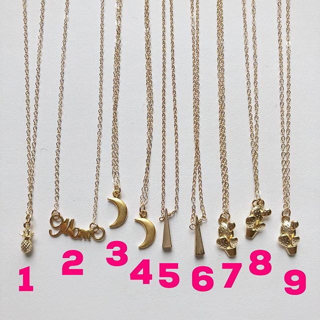 """Dainty charm necklaces! All chains are 16"""" long and 14k gold filled. $22 each. To buy, post """"sold"""" and item number. $3 flat shipping fee added to all orders."""