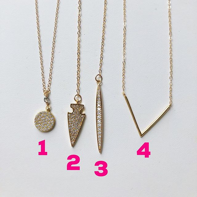 "My CZ charm necklaces! All chains are 14k gold filled. 1 is 16"" long, 2 is 16"" long with a 4"" drop, 3 is 16"" long with a 4.5"" drop, and 4 is 15.5"" long. Additional photos to see how 2 and 3 hang. They are perfect for layering! Each are $30. To buy, post ""sold"" with the item number. $3 flat shipping fee added to all orders."