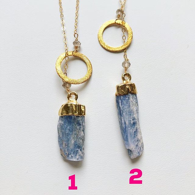 "My kyanite and gold lariat necklaces! The stone goes through the circle. The chains are 14k gold filled and 18"" long. $30. To buy, post ""sold"" and the item number. $3 flat shipping fee added to all orders."