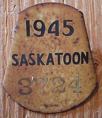 SASKATOON, SASKATCHEWAN 1945  BICYCLE plate