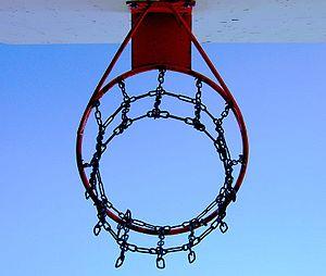 A street basketball hoop.