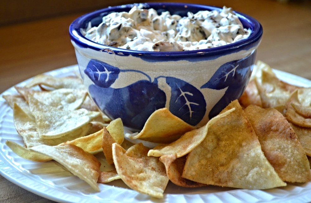 Triple Onion Dip with Homemade Baked Tortilla Chips