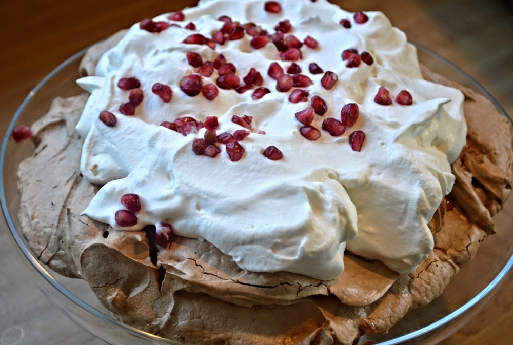 Chocolate Pomegranate Pavlova-Famous Fridays