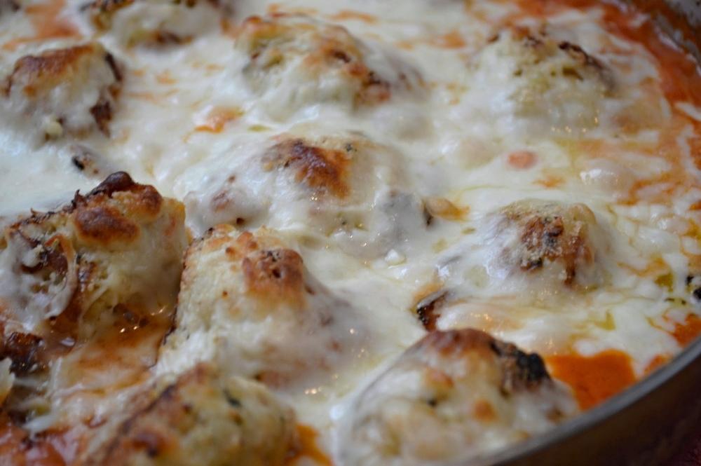 Skillet Chicken Meatballs in Tomato Cream Sauce
