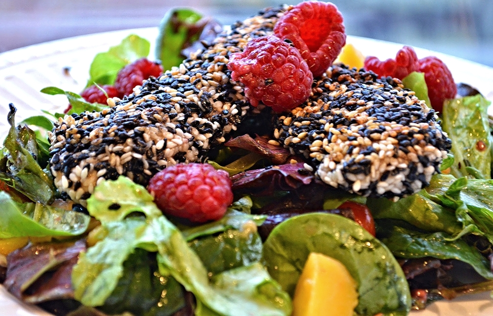 Curtis' Sesame Chicken Salad with Mango, Raspberries and Cherry Tomatoes-Famous Fridays