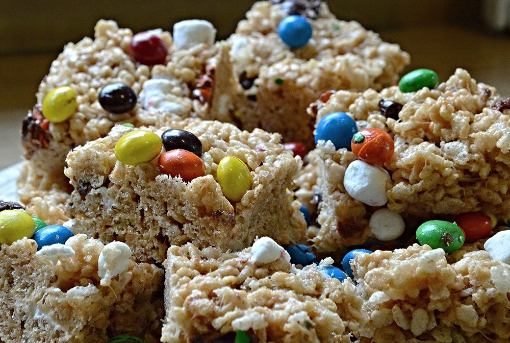 Peanut Butter M&M's Peanut Butter Rice Krispie Treats