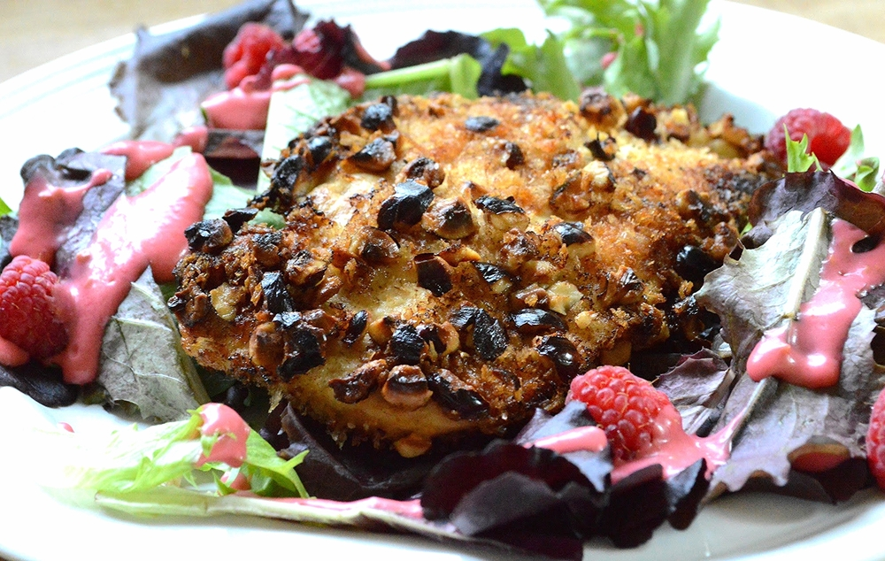 Hazelnut-Crusted Chicken with Baby Lettuce and Raspberry Vinaigrette