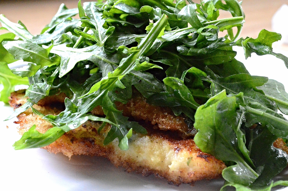 Lemony Chicken Milanese with Arugula Salad