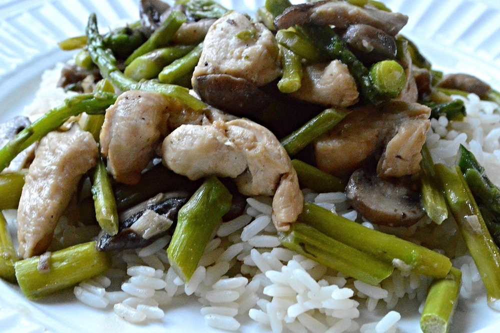 Chicken, Asparagus and Mushroom Stir-Fry