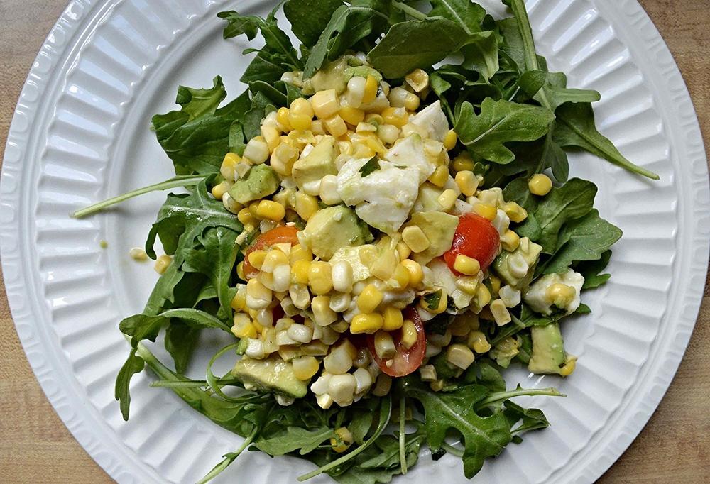 Roasted Corn, Avocado, Tomato and Fresh Mozzarella Salad