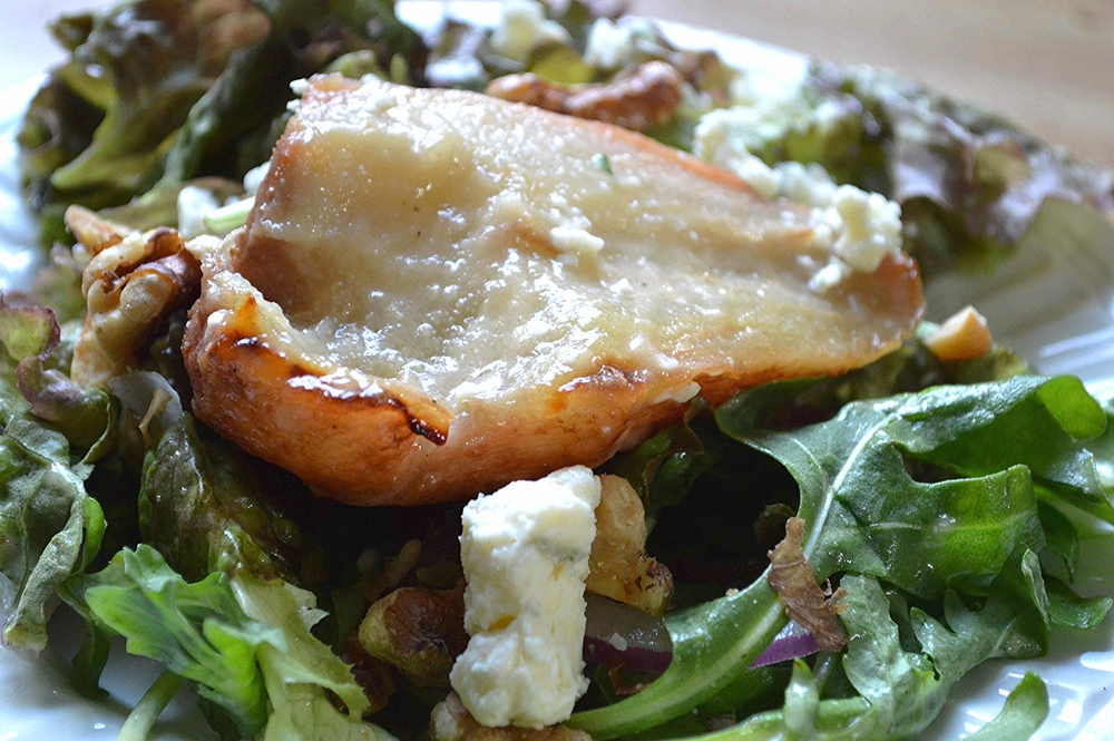 Raising the Salad Bar's Roasted Pear Salad-Famous Fridays