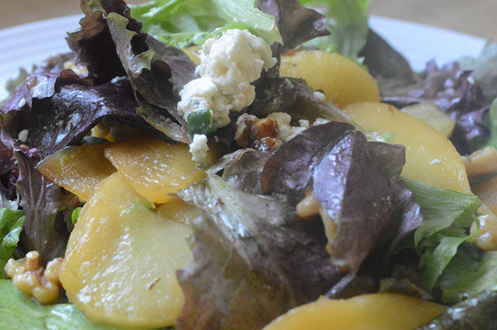 Baby Greens with Caramelized Apples, Roasted Walnuts and Apple Vinaigrette