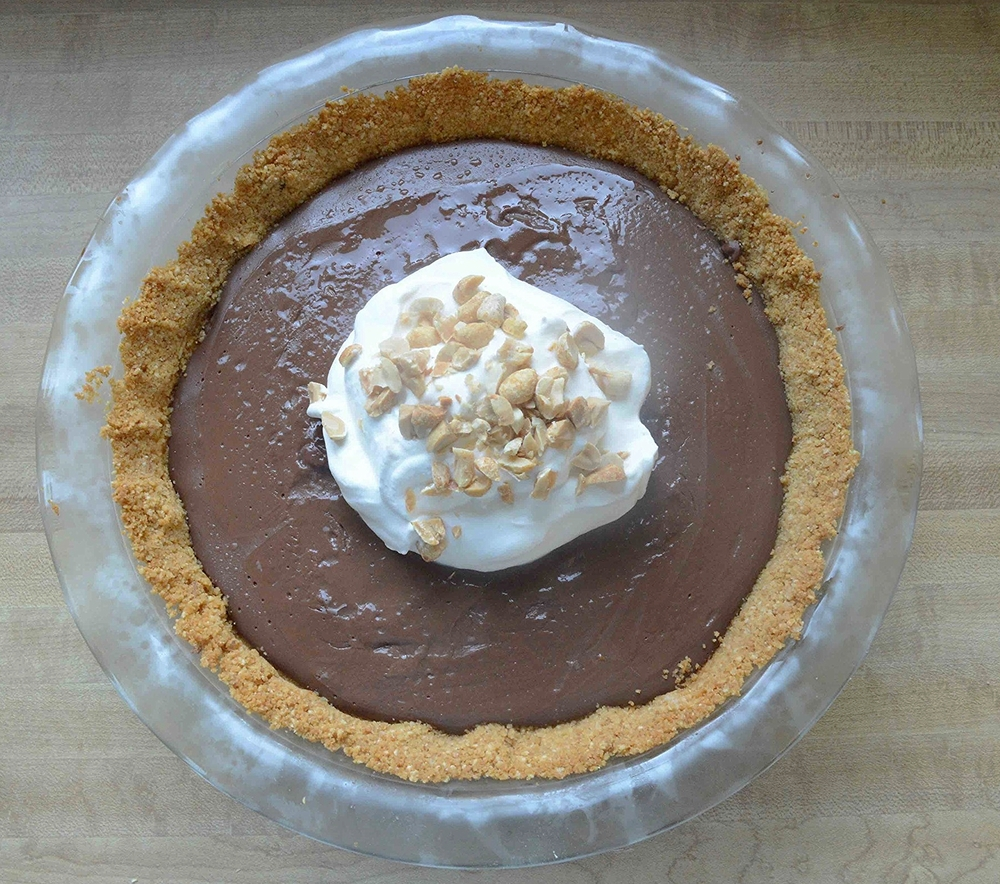 Milk Chocolate Pudding Pie with Salted Peanutty Crust
