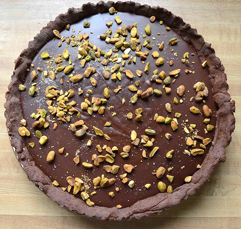 Salted Dark Chocolate Tart with Cocoa Crust and Pistachios