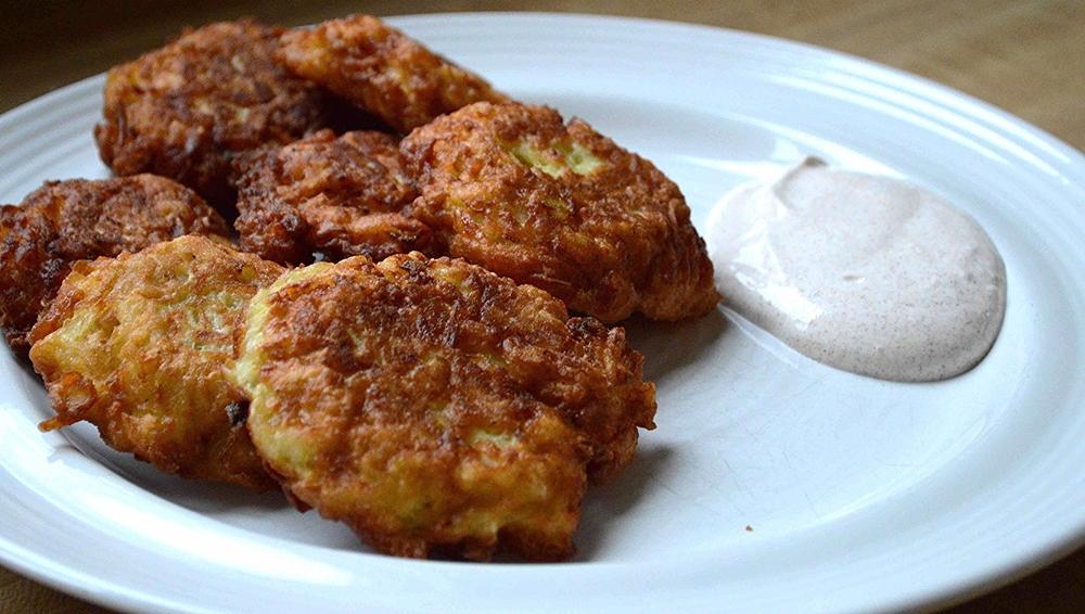 Potato-Apple Latkes with Cinnamon Sour Cream