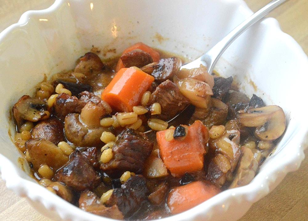Easy Roasted Beef, Mushroom and Barley Soup