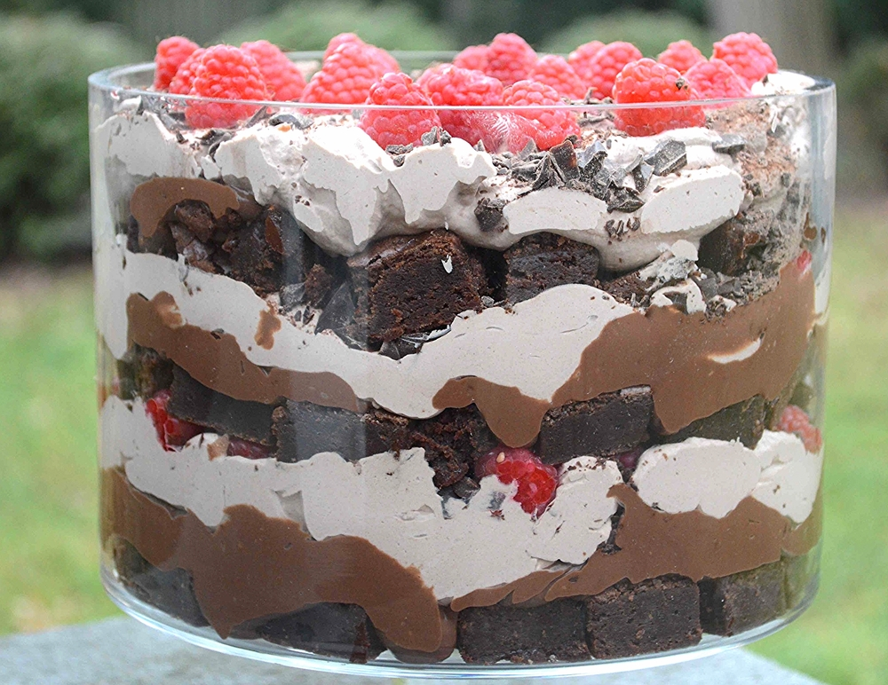 Melissa Clark's Brownie Raspberry Trifle-Famous Fridays