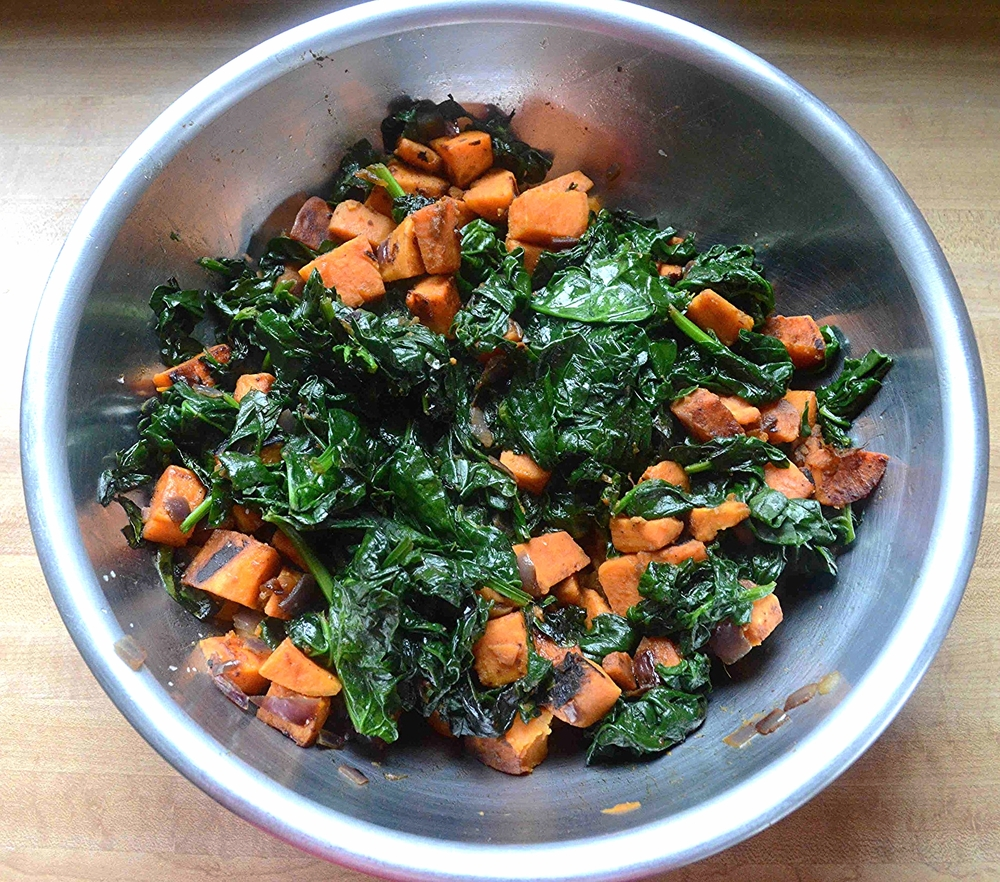 Curried Sweet Potatoes and Spinach