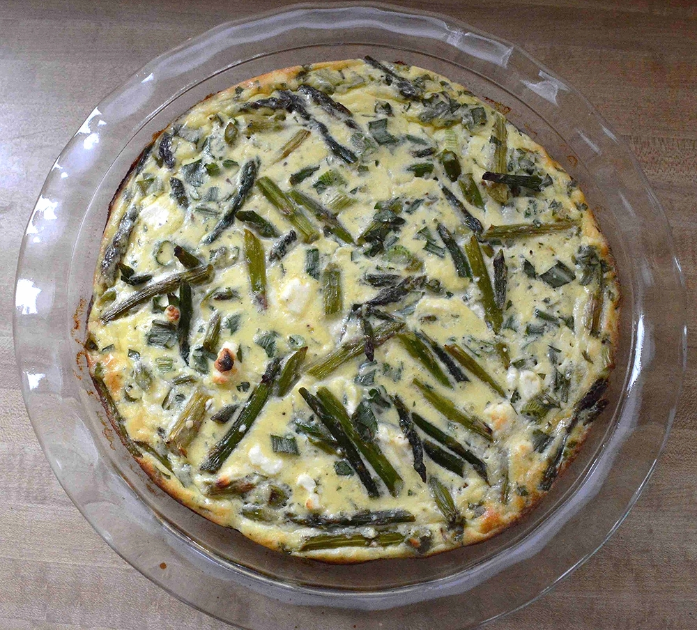"""No-Crust"" Asparagus and Feta Quiche"
