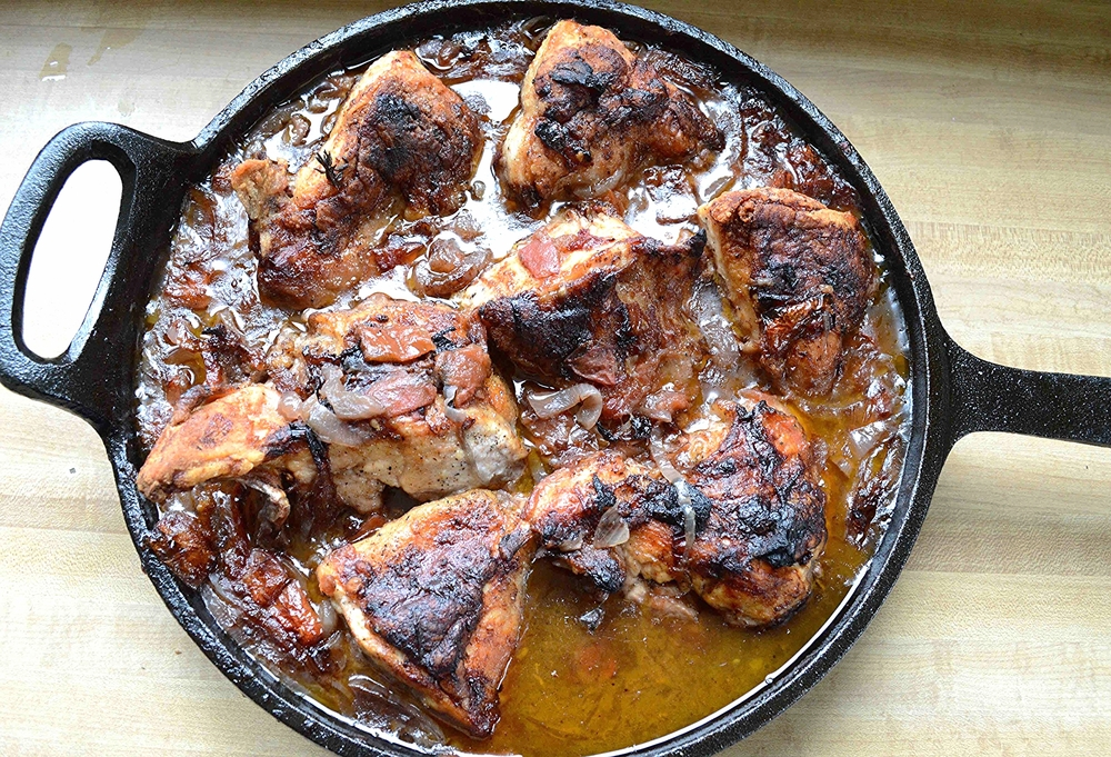 One skillet chicken with red wine tomatoes onions and thyme one skillet chicken with red wine tomatoes onions and thyme forumfinder Image collections