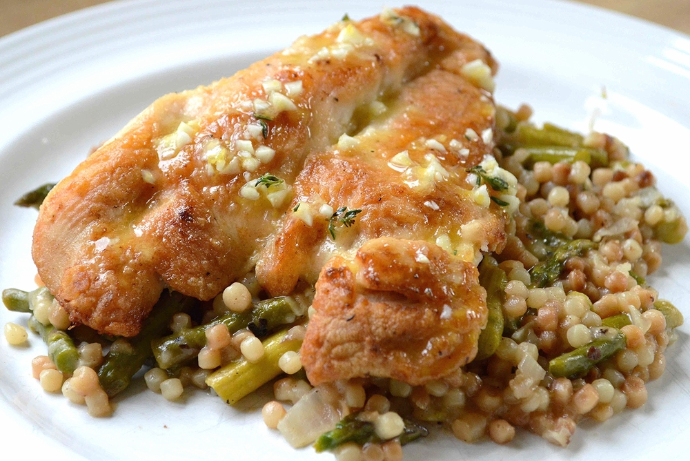 One Pan Chicken with Israeli Couscous, Asparagus and Parmesan