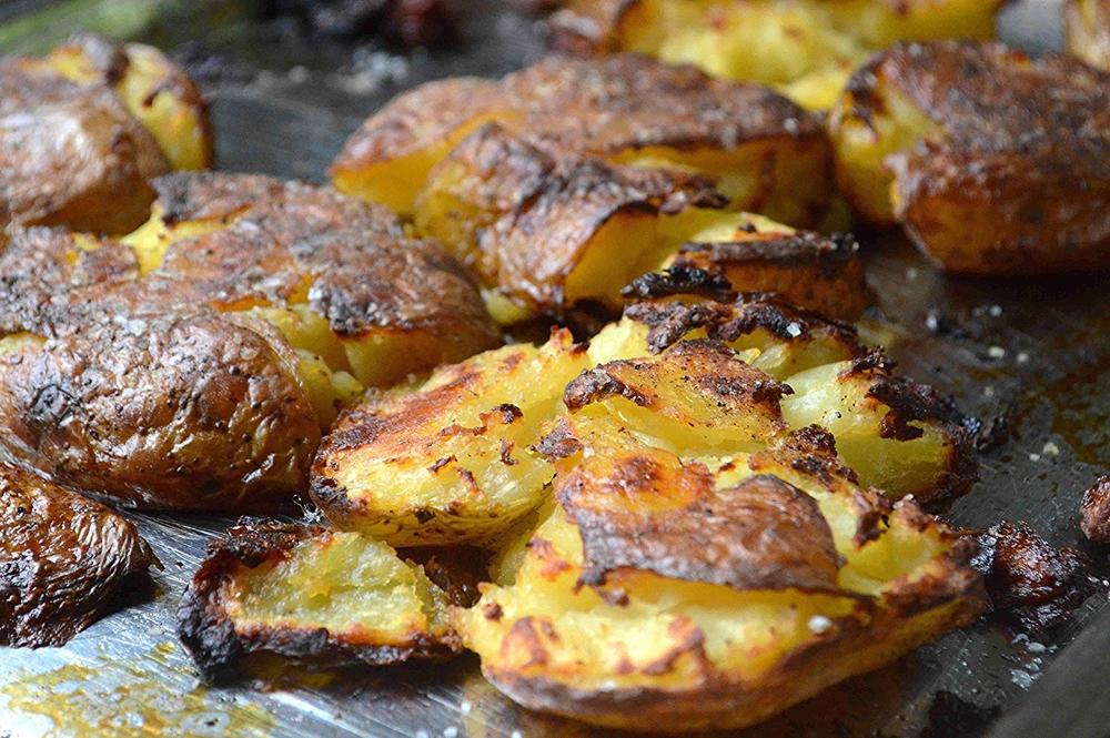 Smashed & Roasted Baked Potatoes