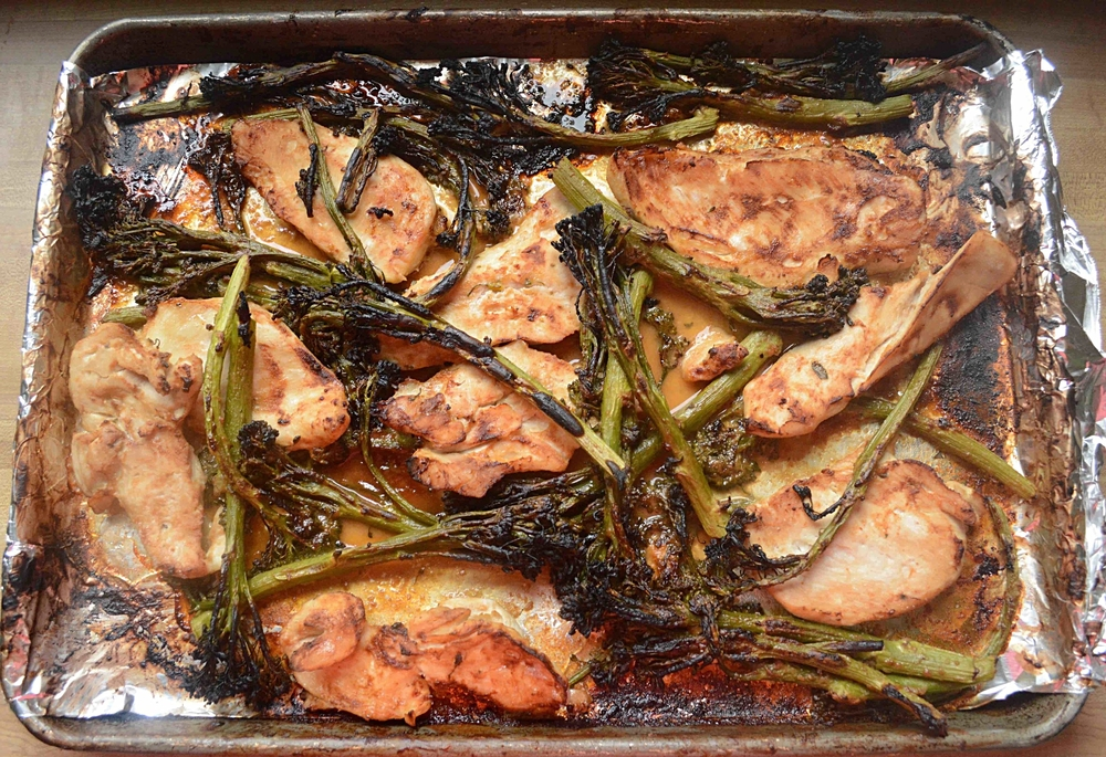 One-Pan Chicken with Broccolini and Peanut Sauce