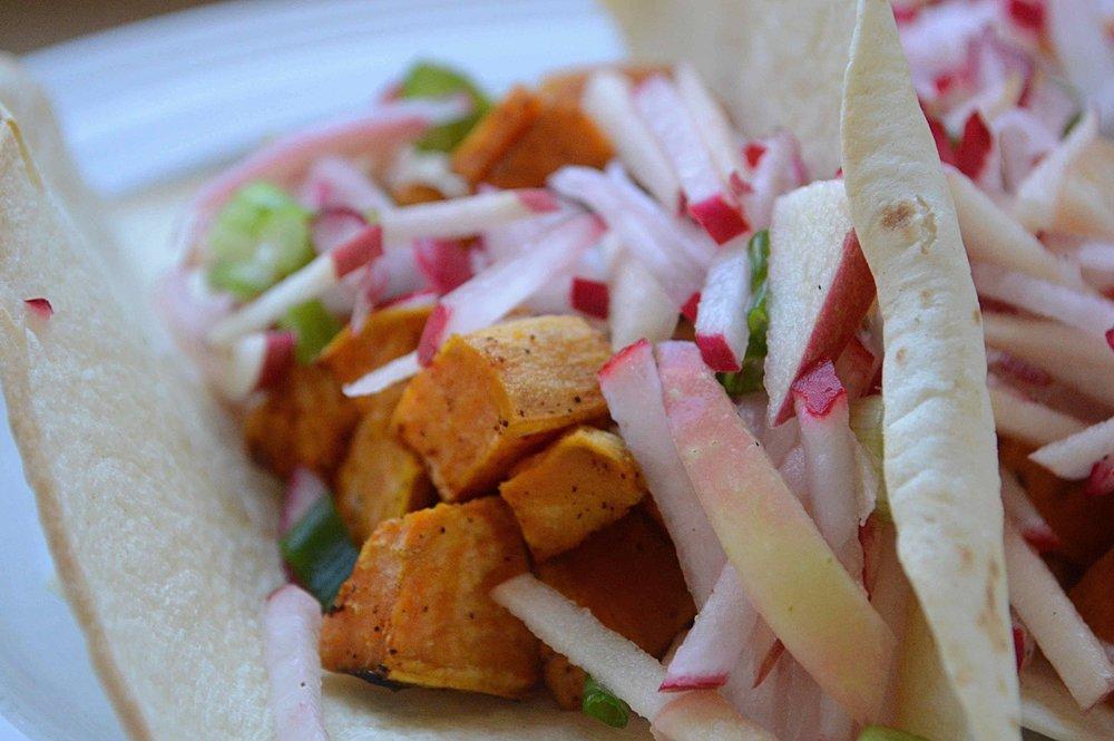 Spicy Sweet Potato Apple Radish Slaw Tacos