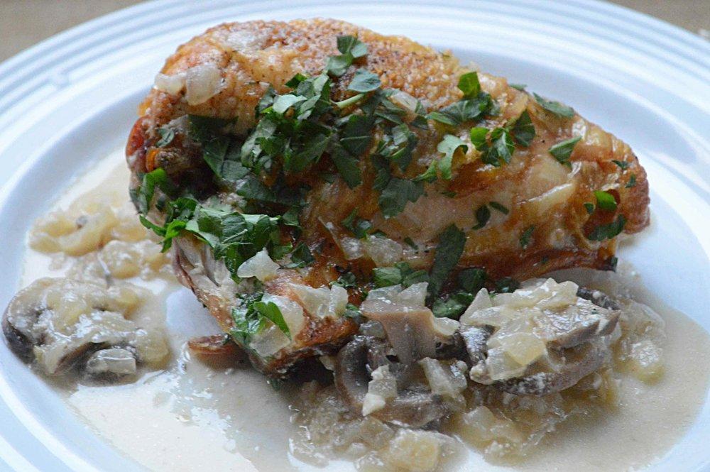 Creamy Chicken and Mushroom Fricassee-Lightened Up