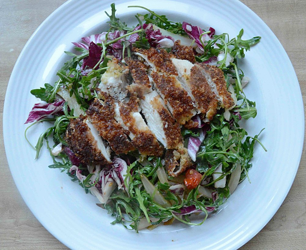 Warm Fennel, Arugula and Radicchio Salad with Chicken