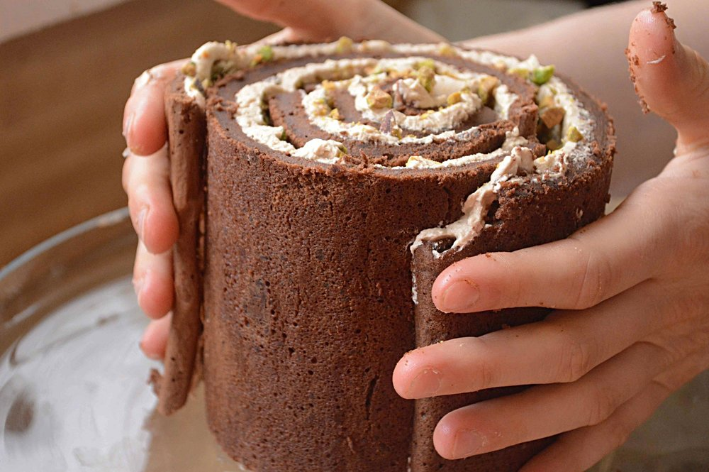 Lin's Chocolate and Brown Sugar Buttercream Rolled Cake with Crushed ...