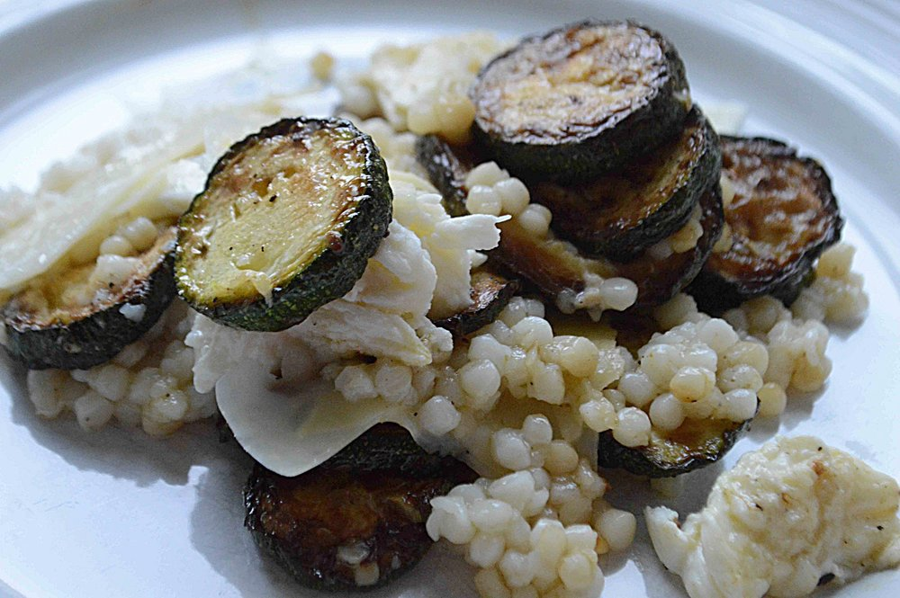 Grilled Zucchini, Mozzarella and Israeli Couscous