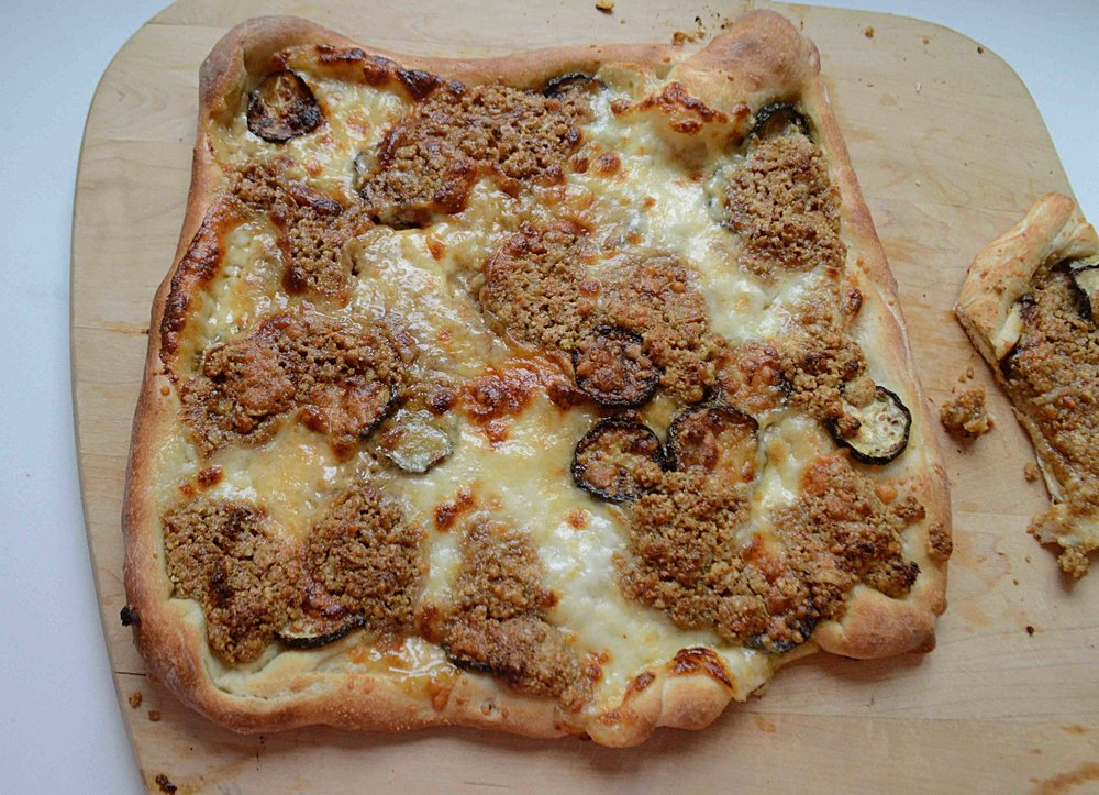 Zucchini and Garlic Walnut Pesto Pizza