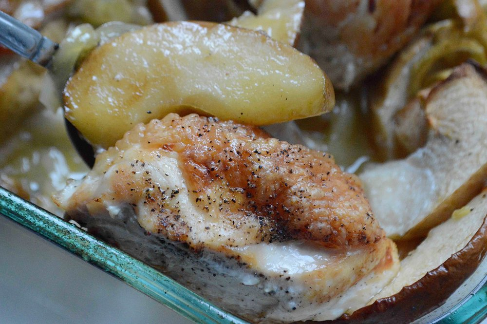 Roast Chicken with Apples and Leeks