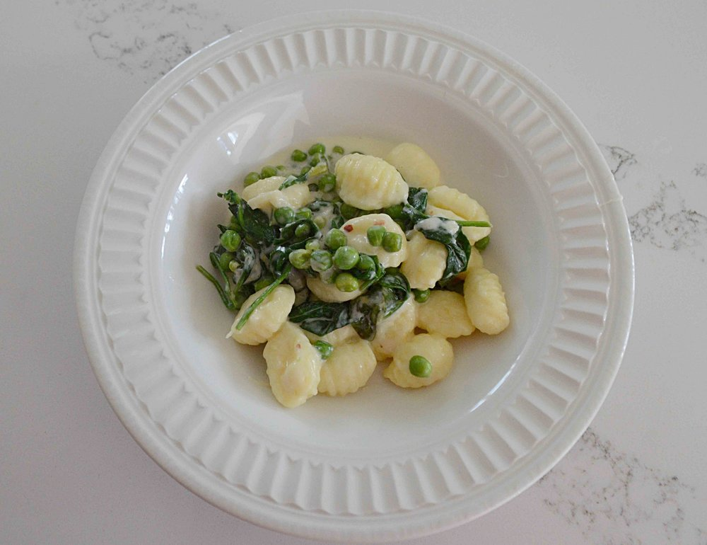 Gnocchi with Lemon, Spinach and Peas