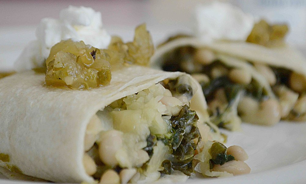 Spicy White Bean and Spinach Burritos