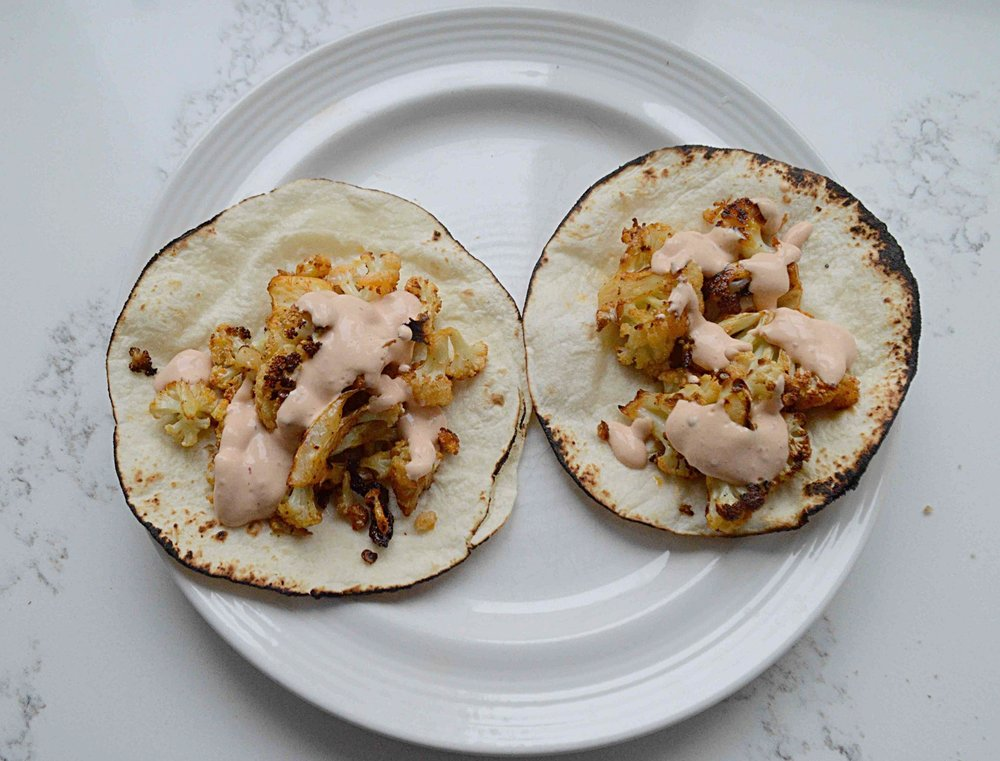 Spicy Roasted Cauliflower Tacos with Chipotle Yogurt Sauce