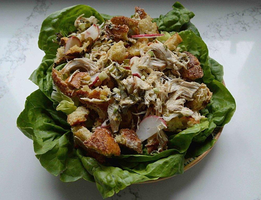 Roast Chicken Salad with Charred Scallion Vinaigrette