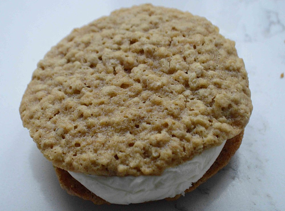 Chewy Oatmeal Cookie Ice Cream Sandwiches