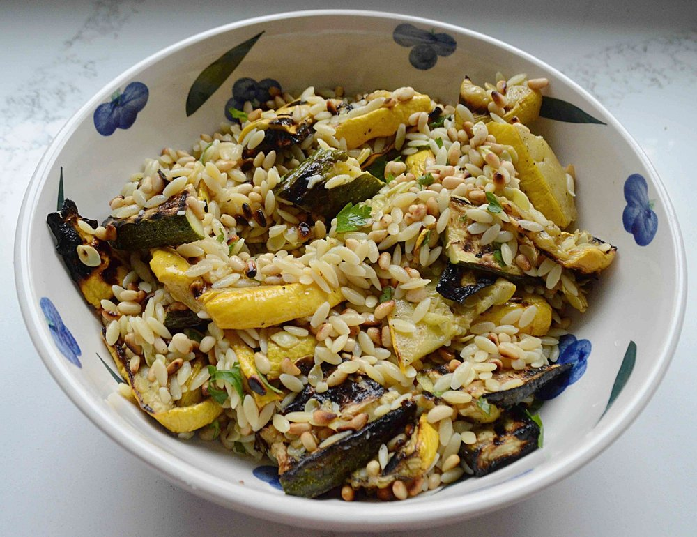 Summer Pasta Salad with Grilled Squash and Pine Nuts