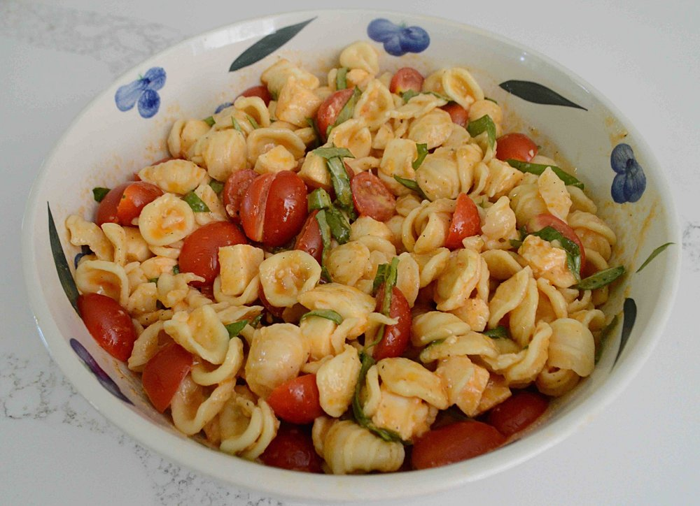 Fresh Mozzarella and Tomato Pasta Salad with Asian-Style Red Pepper Vinaigrette