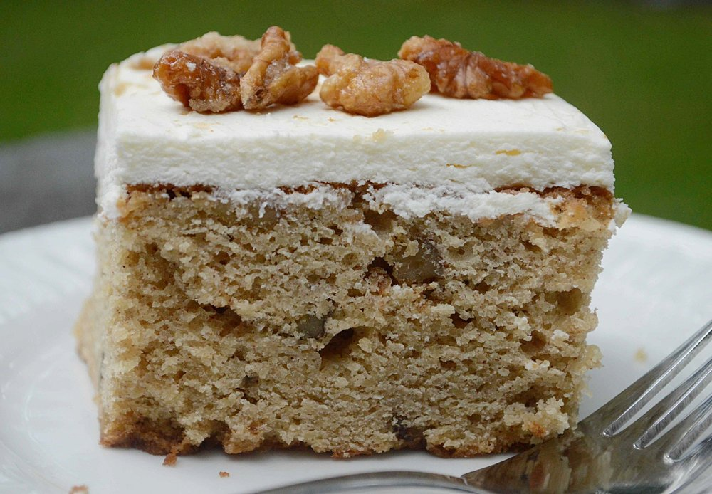 Applesauce Spice Cake with Maple Cream Cheese Frosting