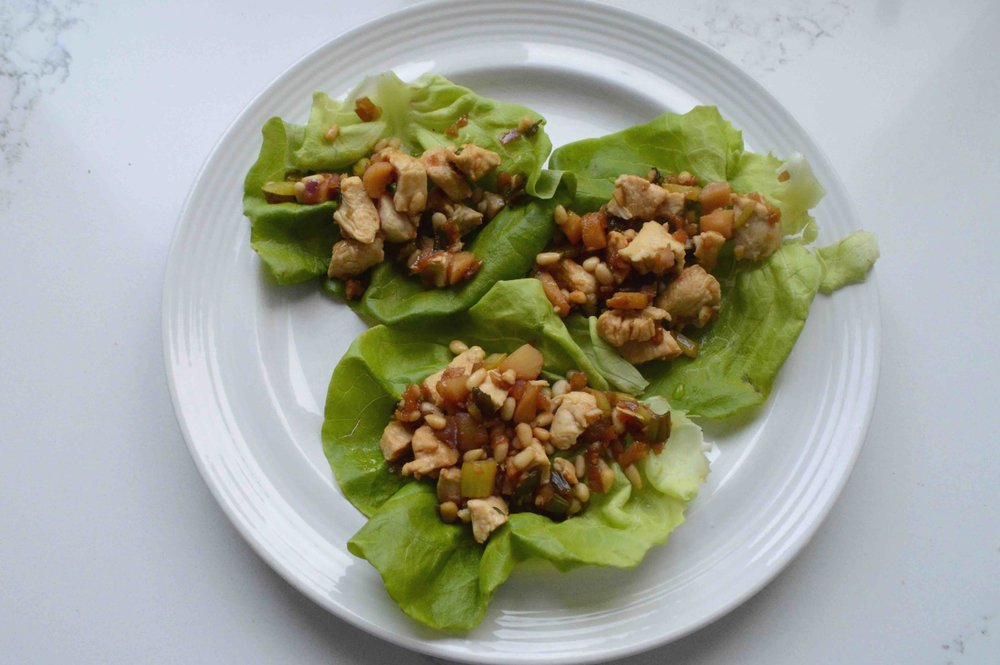 Chicken+and+Pine+Nut+Lettuce+Wraps