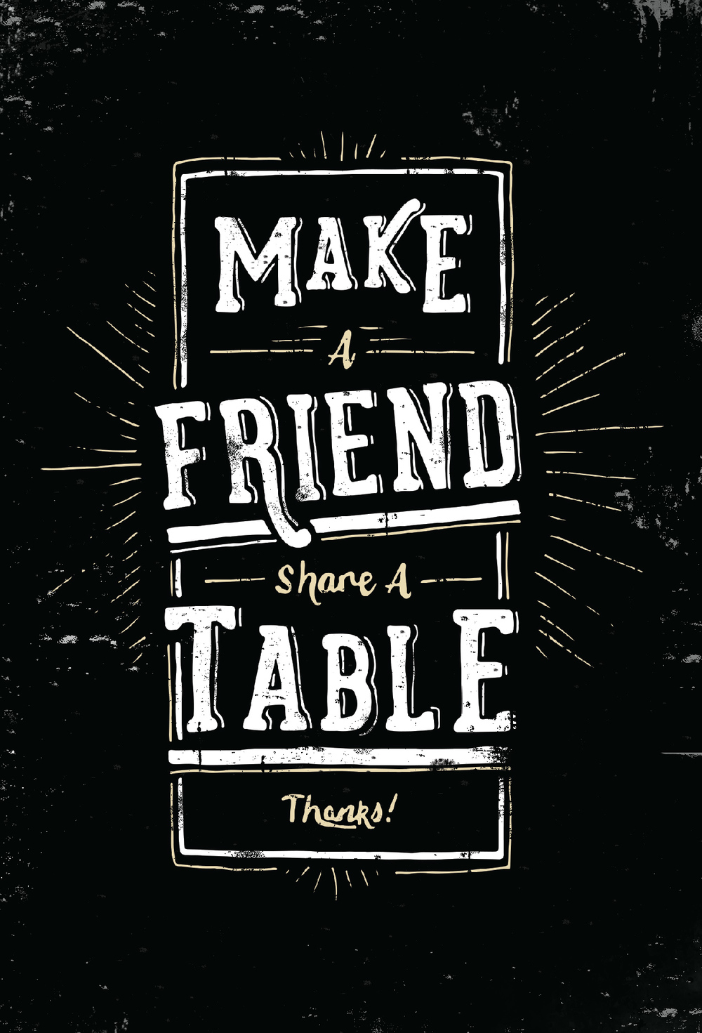 Hand-drawn ad for the restaurant to promote table sharing.