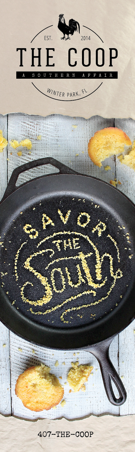 "Banner Stand  - I created the typography for ""savor the south"" out of cornbread crumbs (I used tweezers to arrange them) then took the photo."